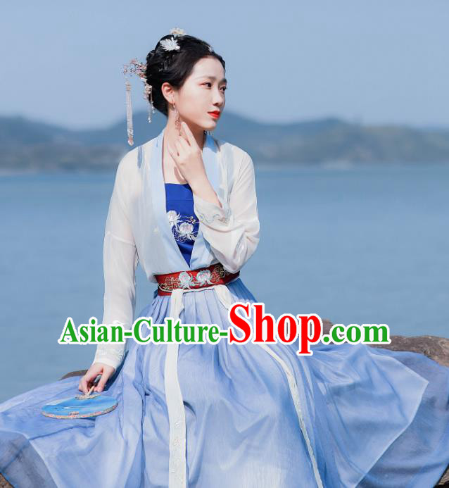 Chinese Traditional Song Dynasty Historical Costume Ancient Princess Hanfu Dress for Women