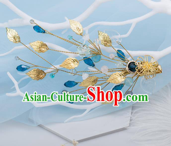 Chinese Handmade Hanfu Golden Leaf Hair Claw Hairpins Ancient Princess Hair Accessories Headwear for Women