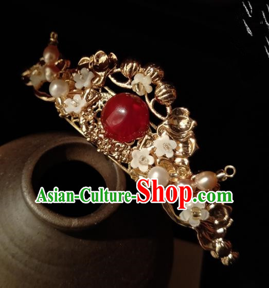 Chinese Handmade Hanfu Hairpins Red Chalcedony Hair Crown Ancient Palace Princess Hair Accessories Headwear for Women