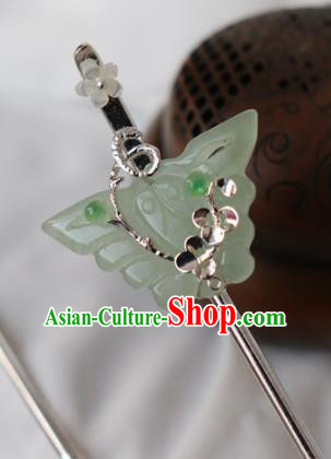 Chinese Handmade Hanfu Jade Butterfly Hair Clip Hairpins Ancient Palace Princess Hair Accessories Headwear for Women