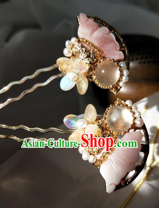 Chinese Handmade Hanfu Pink Shell Hair Clip Hairpins Ancient Palace Princess Hair Accessories Headwear for Women