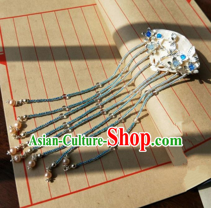 Chinese Handmade Hanfu White Shell Hair Clip Hairpins Ancient Palace Princess Hair Accessories Headwear for Women