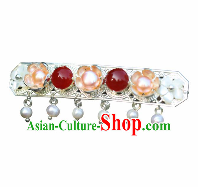 Chinese Handmade Hanfu Agate Pearls Hair Clip Hairpins Ancient Palace Princess Hair Accessories Headwear for Women