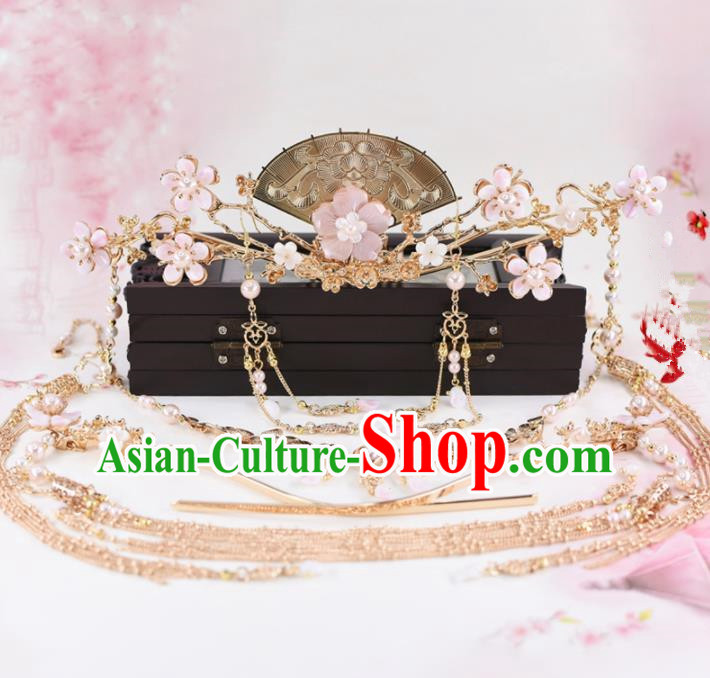 Chinese Handmade Palace Pink Flowers Hair Crown Hairpins Ancient Princess Hanfu Hair Accessories Headwear for Women