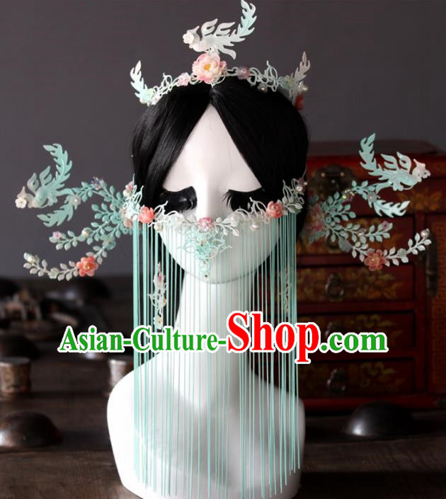 Chinese Handmade Palace Queen Blue Phoenix Coronet Hairpins Ancient Hair Accessories Headwear for Women