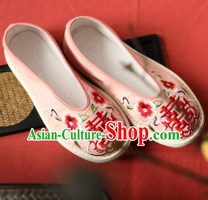 Chinese Handmade Wedding Pink Cloth Shoes Traditional National Shoes Ancient Princess Embroidered Hanfu Shoes for Women