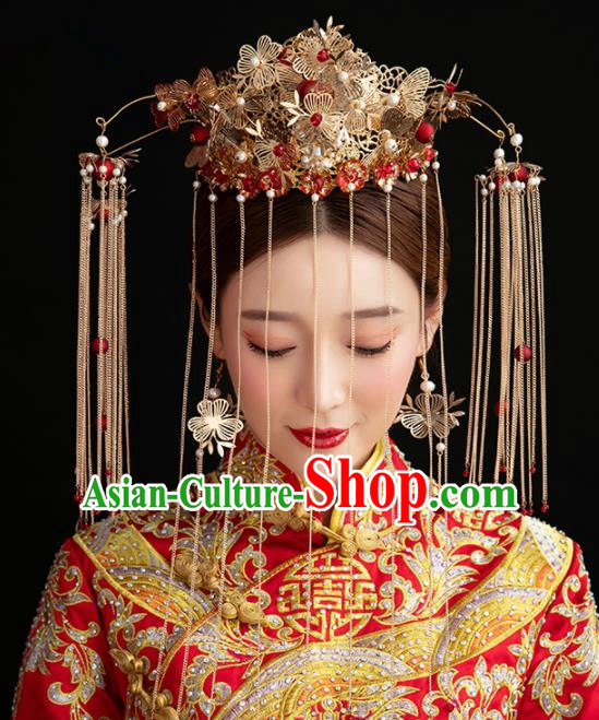 Chinese Handmade Palace Queen Phoenix Coronet Hairpins Ancient Hair Accessories Headwear for Women