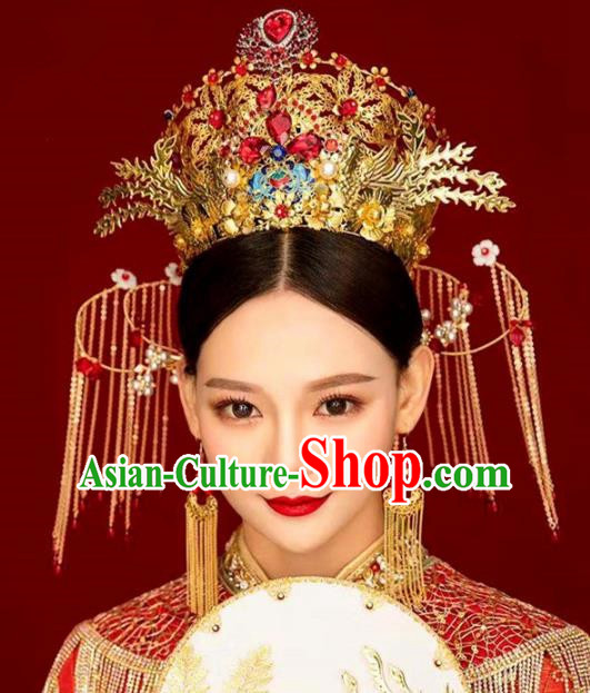 Chinese Handmade Palace Queen Red Crystal Phoenix Coronet Hairpins Ancient Hair Accessories Headwear for Women