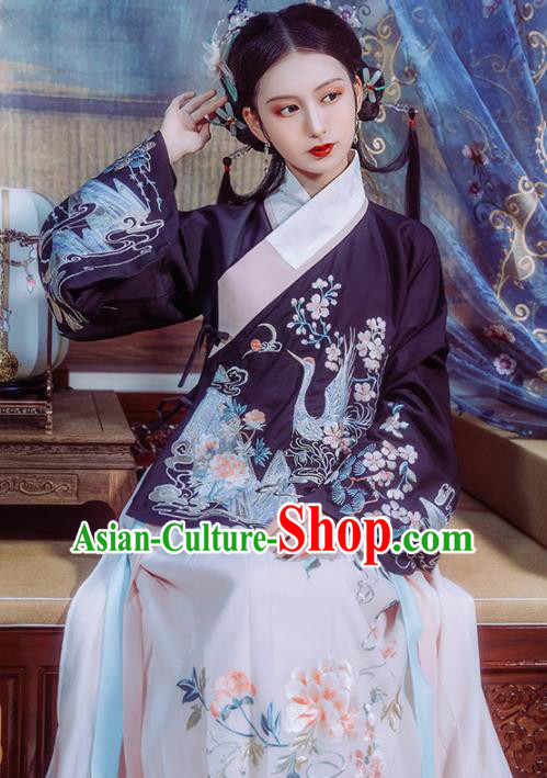 Chinese Traditional Ming Dynasty Princess Historical Costume Ancient Court Embroidered Hanfu Dress for Women