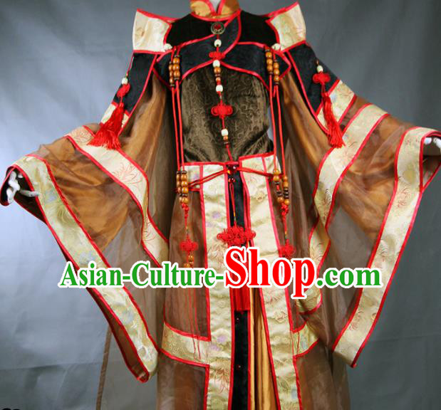 Chinese Traditional Cosplay Royal Highness Brown Costume Ancient Swordsman Hanfu Clothing for Men
