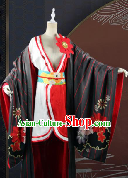 Chinese Traditional Cosplay Peri Queen Costume Ancient Swordswoman Black Hanfu Dress for Women