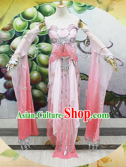 Chinese Traditional Cosplay Swordswoman Costume Ancient Peri Princess Pink Hanfu Dress for Women