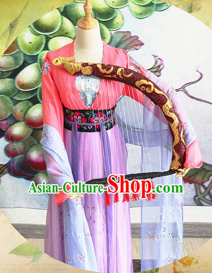 Chinese Traditional Cosplay Swordswoman Costume Ancient Tang Dynasty Court Maid Hanfu Dress for Women