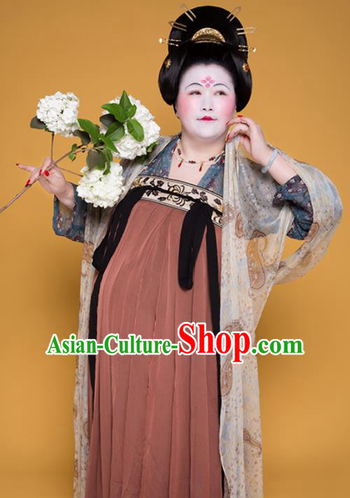 Traditional Chinese Tang Dynasty Large Size Historical Costume Ancient Imperial Consort Hanfu Dress for Women