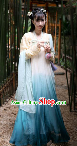 Chinese Traditional Tang Dynasty Rich Lady Costume Ancient Blue Hanfu Dress for Women