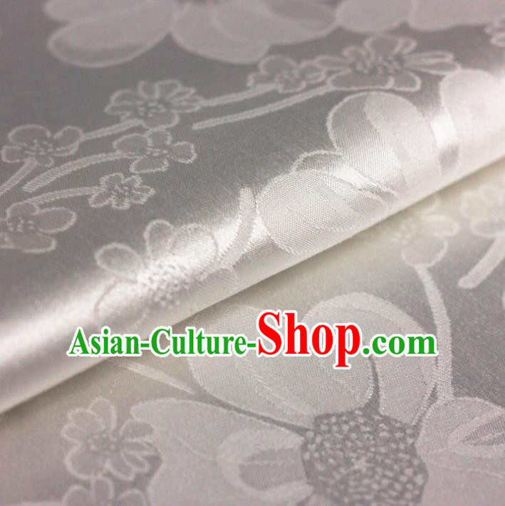 Chinese Traditional Satin Fabric Material Classical Plum Blossom Pattern Design White Brocade Cheongsam Silk Fabric