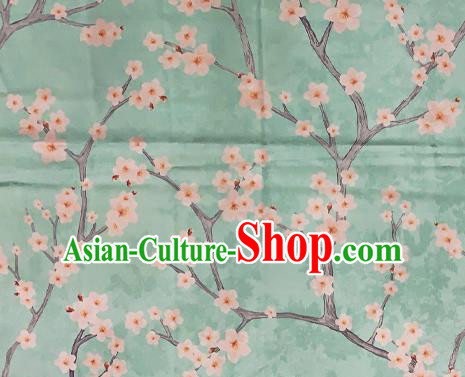 Chinese Traditional Satin Fabric Material Classical Plum Blossom Pattern Design Green Brocade Cheongsam Silk Fabric