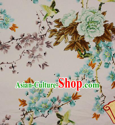 Chinese Traditional Fabric Classical Peach Blossom Green Peony Pattern Design Brocade Cheongsam Satin Material Silk Fabric