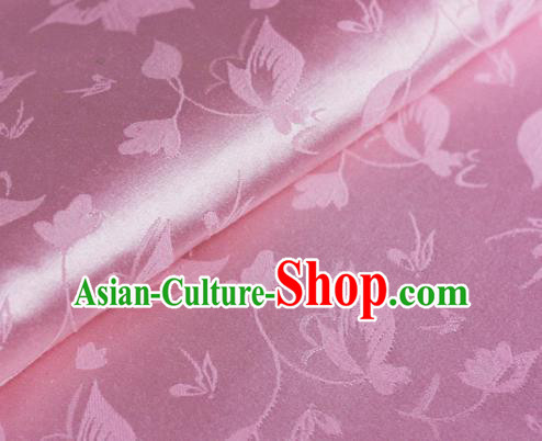Chinese Traditional Hanfu Palace Flowers Pattern Pink Brocade Material Cheongsam Classical Fabric Satin Silk Fabric