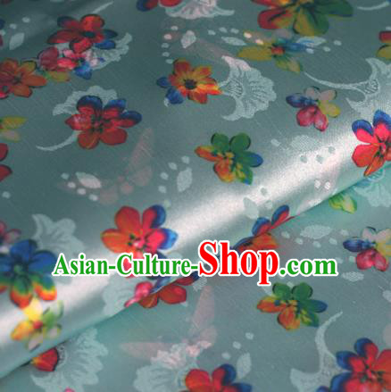 Chinese Traditional Fabric Classical Cherry Blossom Pattern Design Blue Brocade Cheongsam Satin Material Silk Fabric