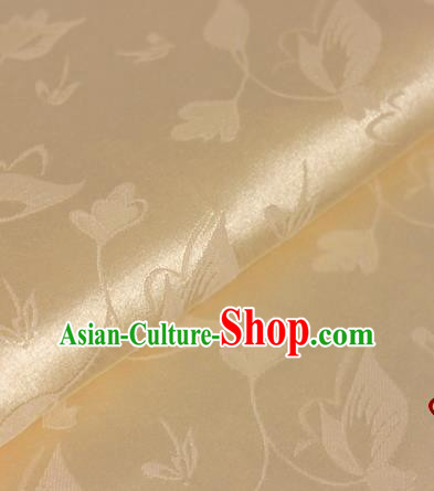 Chinese Traditional Cheongsam Fabric Butterfly Pattern Golden Brocade Material Hanfu Classical Satin Silk Fabric