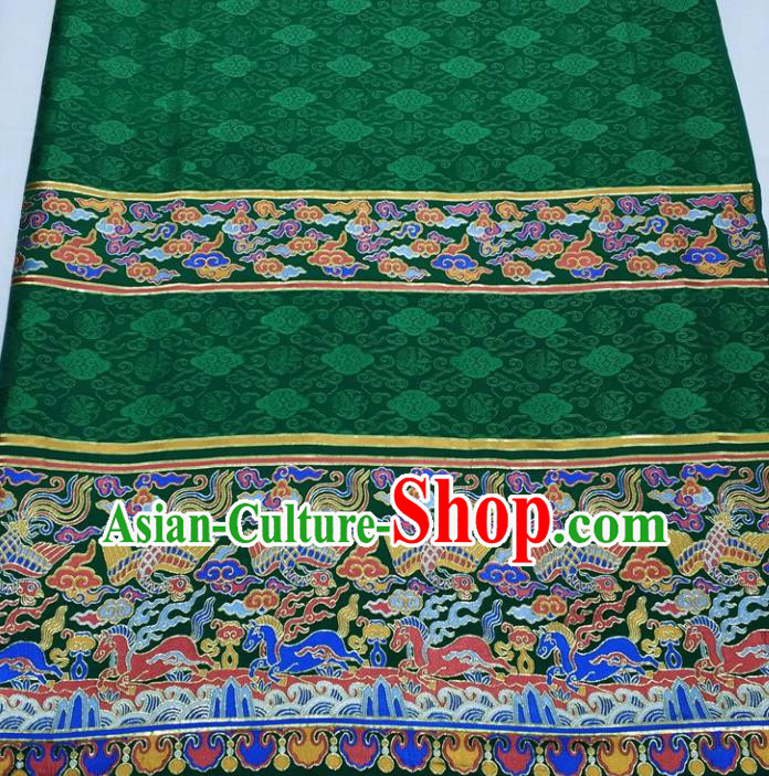 Chinese Traditional Fabric Royal Clouds Phoenix Pattern Green Brocade Material Hanfu Classical Satin Silk Fabric