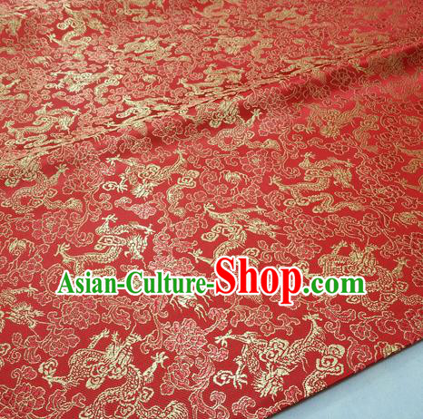 Chinese Traditional Fabric Royal Dragons Peony Pattern Red Brocade Material Hanfu Classical Satin Silk Fabric
