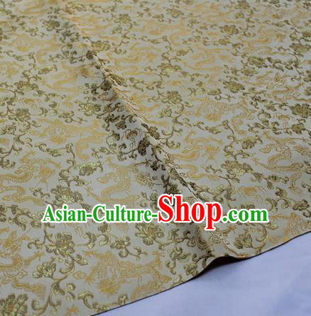Chinese Traditional Fabric Royal Dragons Peony Pattern Golden Brocade Material Hanfu Classical Satin Silk Fabric