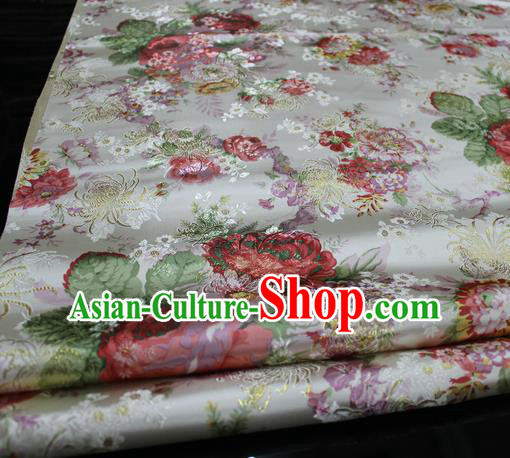 Chinese Traditional Fabric Royal Peony Pattern White Brocade Material Hanfu Classical Satin Silk Fabric