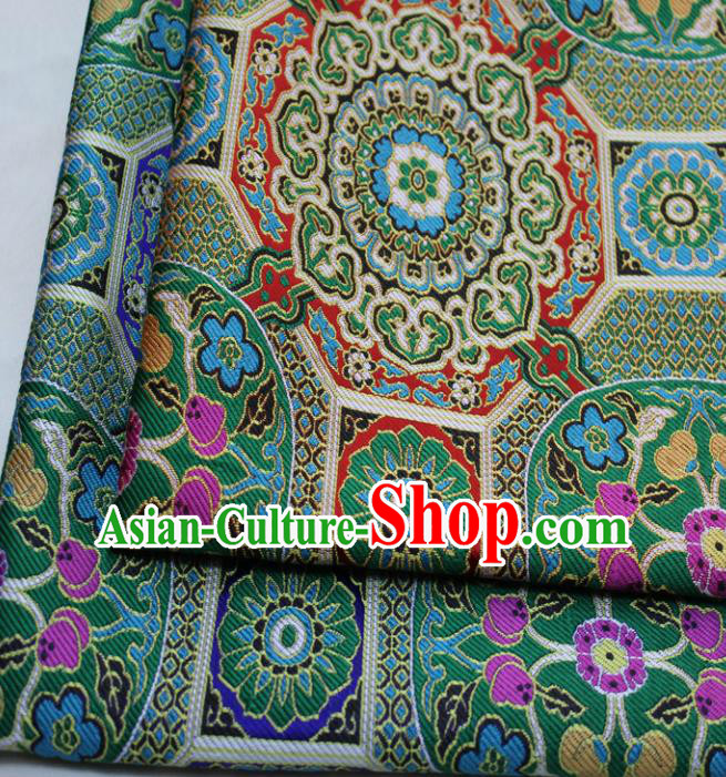 Chinese Traditional Tang Suit Fabric Royal Rosette Pattern Green Brocade Material Hanfu Classical Satin Silk Fabric