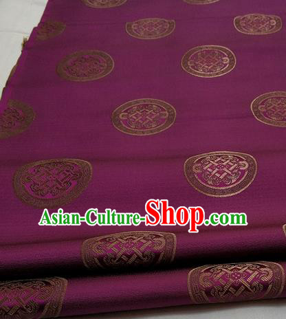 Chinese Traditional Tang Suit Fabric Royal Lucky Pattern Purple Brocade Material Hanfu Classical Satin Silk Fabric