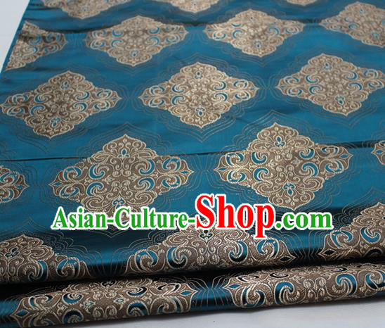 Chinese Traditional Tang Suit Peacock Blue Brocade Royal Pattern Satin Fabric Material Classical Silk Fabric