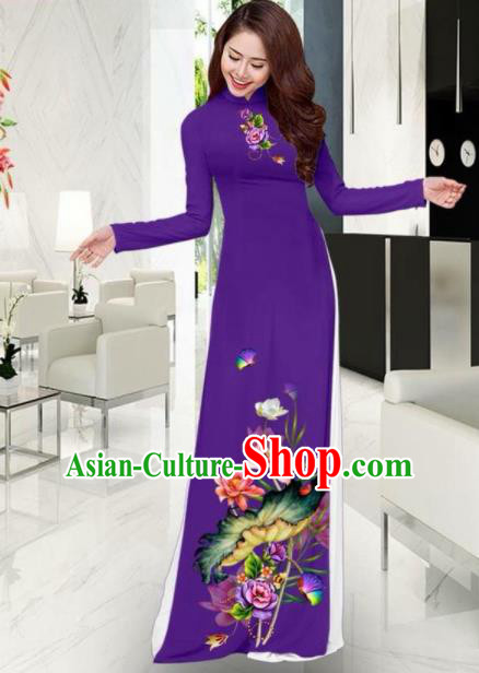 Vietnam National Costume Classical Printing Lotus Purple Ao Dai Dress Asian Traditional Vietnamese Cheongsam for Women