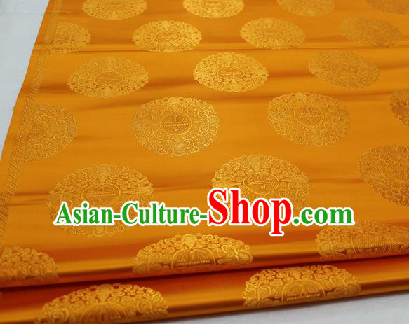 Asian Chinese Traditional Tang Suit Royal Round Pattern Golden Brocade Satin Fabric Material Classical Silk Fabric