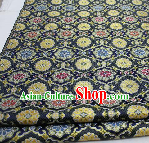 Asian Chinese Traditional Tang Suit Royal Pattern Black Brocade Satin Fabric Material Classical Silk Fabric