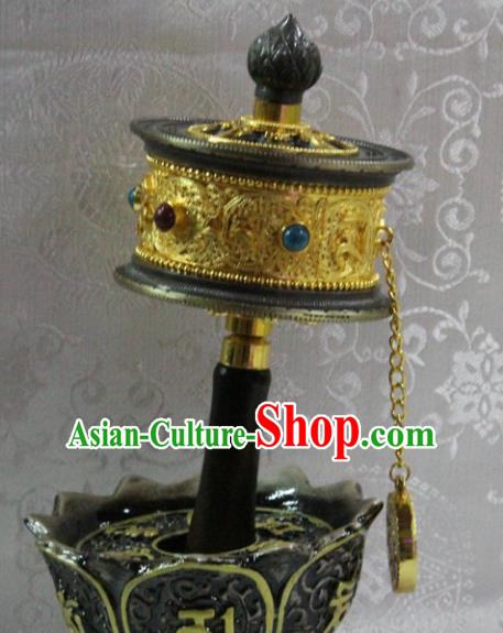 Chinese Traditional Buddhism Brass Pray Wheel Feng Shui Items Vajrayana Buddhist Decoration