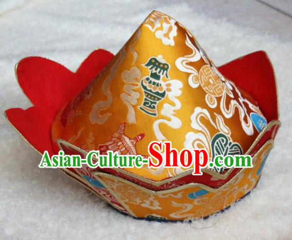 Chinese Traditional Buddhist Golden Brocade Hat Tibetan Buddhism Hutukta Hat