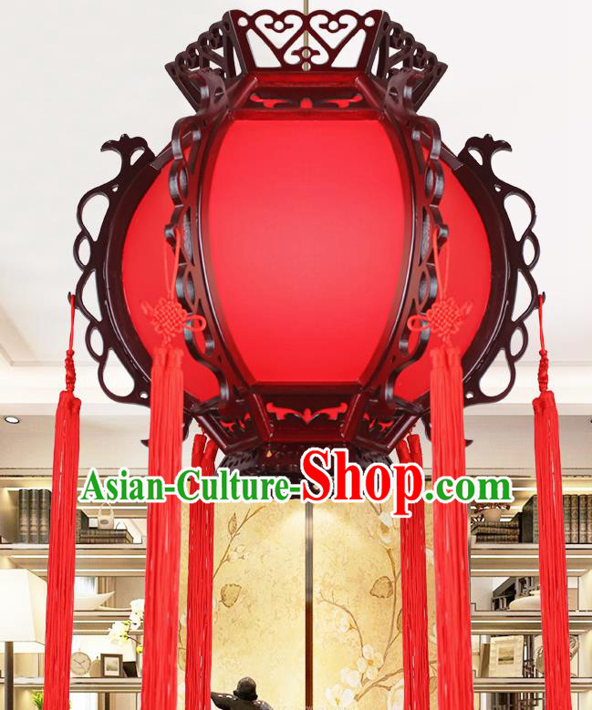 Chinese Traditional Wood Red Sheepskin Palace Lantern Handmade New Year Hanging Lanterns Ceiling Lamp