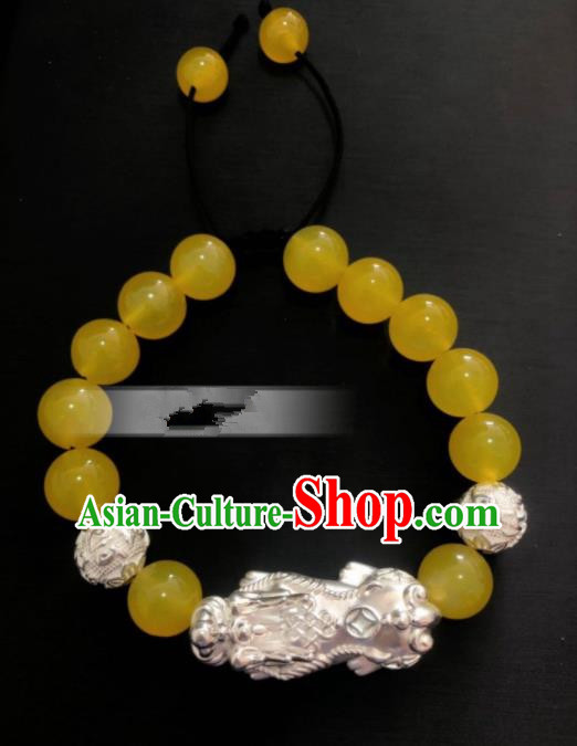 Traditional Chinese Mongol Nationality Yellow Chalcedony Bracelet Accessories Mongolian Ethnic Bangle for Women