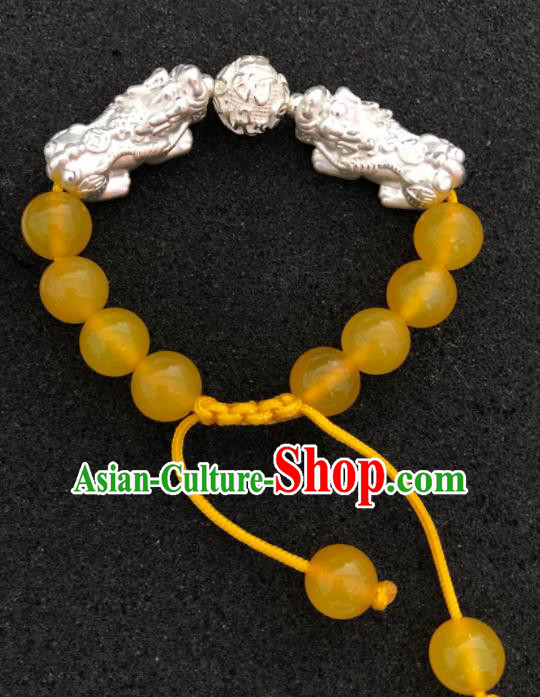 Traditional Chinese Mongol Nationality Yellow Chalcedony Bracelet Accessories Mongolian Ethnic Pixiu Bangle for Women