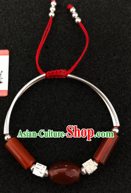 Traditional Chinese Mongol Nationality Agate Bracelet Accessories Mongolian Ethnic Bangle for Women