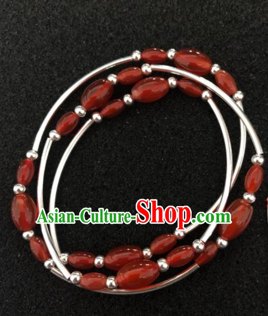 Traditional Chinese Mongol Nationality Agate Beads Bracelet Accessories Mongolian Ethnic Bangle for Women