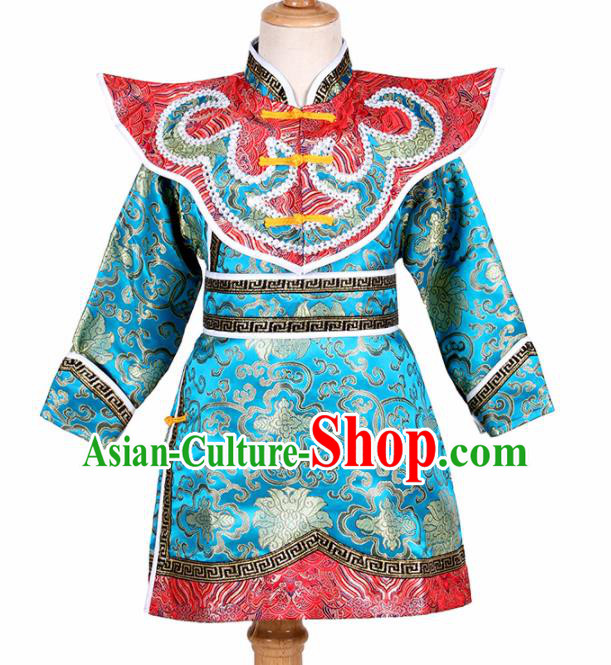 Chinese Ethnic Costume Blue Brocade Robe Traditional Mongol Nationality Folk Dance Clothing for Kids