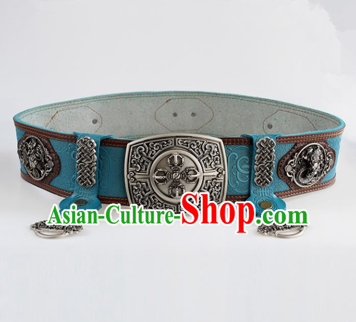 Chinese Mongolian Ethnic Waist Accessories Traditional Mongol Nationality Blue Leather Belts for Men