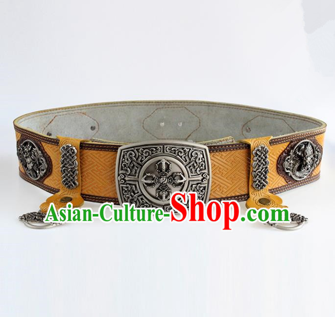 Chinese Mongolian Ethnic Waist Accessories Traditional Mongol Nationality Yellow Leather Belts for Men