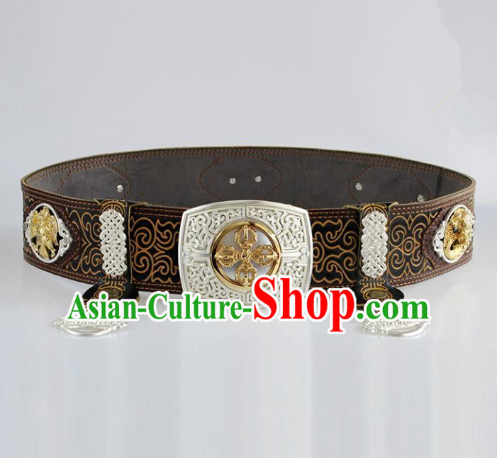 Chinese Mongolian Ethnic Waist Accessories Traditional Mongol Nationality Black Leather Belts for Men