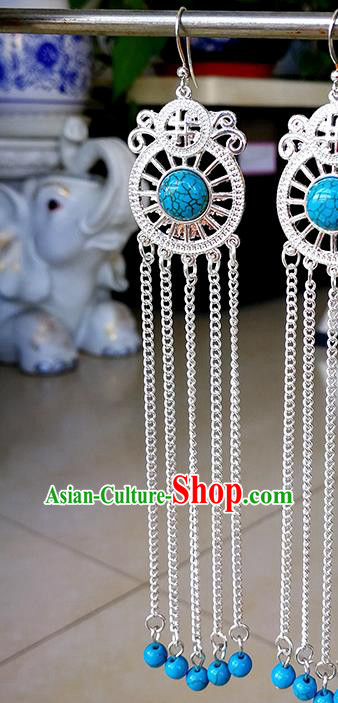 Traditional Chinese Mongolian Ethnic Blue Beads Ear Accessories Mongol Nationality Earrings for Women