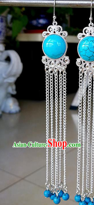Traditional Chinese Mongolian Ethnic Blue Beads Tassel Ear Accessories Mongol Nationality Earrings for Women