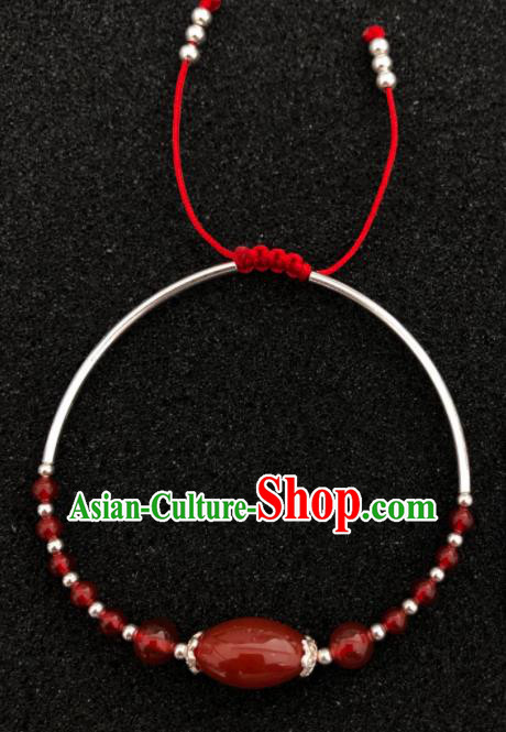 Traditional Chinese Mongol Nationality Agate Bracelet Accessories Mongolian Ethnic Sliver Bangle for Women