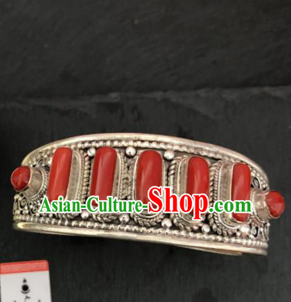 Traditional Chinese Mongol Nationality Sliver Bracelet Accessories Mongolian Ethnic Bangle for Women